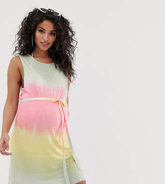 Asos DESIGN Maternity pastel tie dye jersey beach cover up