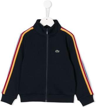 Lacoste Kids striped appliqués zipped sweatshirt