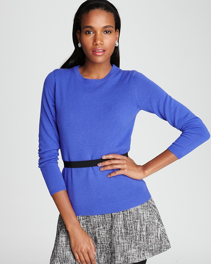 Bloomingdale's C by Cashmere Long Sleeve Crew Neck Sweater