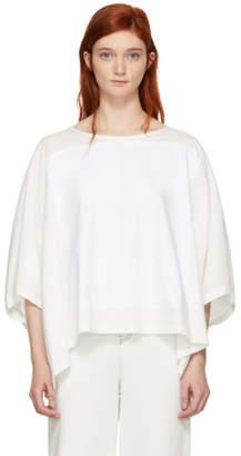 MM6 Maison Martin Margiela Off-White Mixed Jersey Drop Sleeve T-Shirt