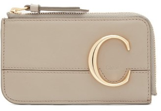 Chloé The C Logo Leather Card And Coin Purse - Womens - Grey