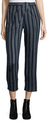 Thakoon Addition Cross-Front Striped Ankle Pants