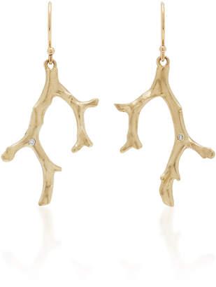 Annette Ferdinandsen Coral Stick 14K Gold Diamond Earrings
