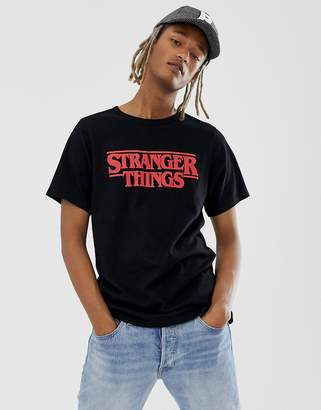 Pull&Bear X Stranger Things logo t-shirt with back print in black