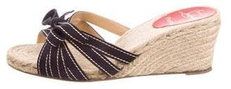 Christian Louboutin Suede-Accented Espadrille Wedges