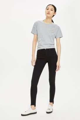 Topshop Womens Black Stepped Hem Jamie Jeans - Black