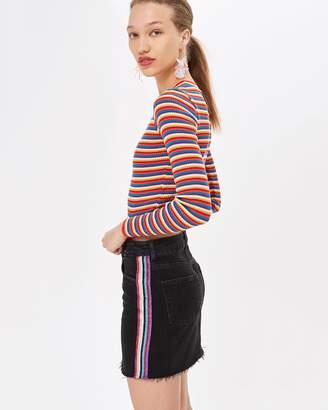 Topshop Lurex Side Stripe Denim Skirt