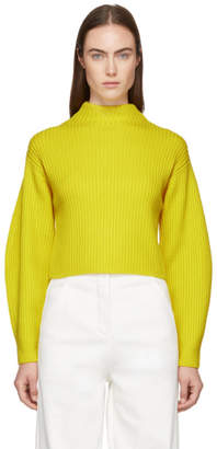 Tibi Yellow Structured Pullover Sweater