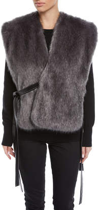 Faux-Fur Waistcoat with Leather Ties