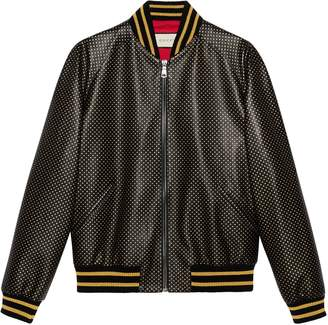 Gucci Guccy leather bomber jacket