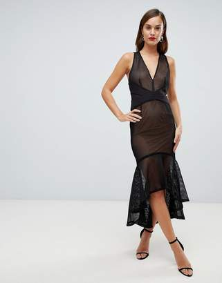 Forever Unique sheer overlay midi fishtail dress