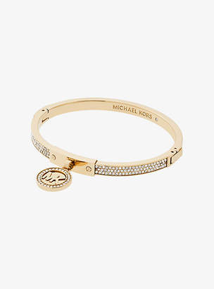 Michael Kors Fulton Pave Gold-Tone Hinge Bangle