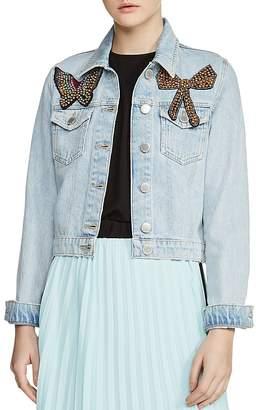 Maje Vivou Embellished Denim Jacket