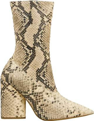 Yeezy Snakeskin-Embossed Stretch Boots