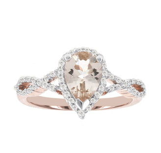 MODERN BRIDE Blooming Bridal Genuine Pear Morganite and Diamond 14K Rose Gold Infinity Ring $2,500 thestylecure.com