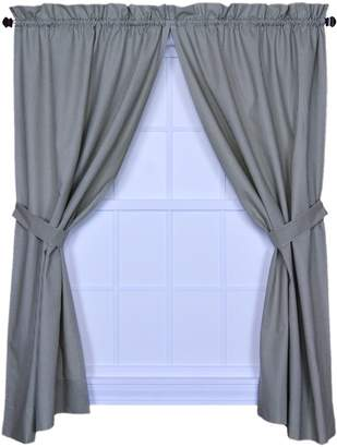 Logan Ellis Curtain Gingham Check Print 68-Inch by 54-Inch Tailored Panel Pair with Tiebacks