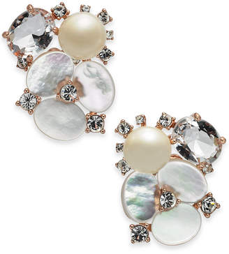 Kate Spade Rose Gold-Tone Crystal, Imitation Pearl & Mother-of-Pearl Cluster Stud Earrings