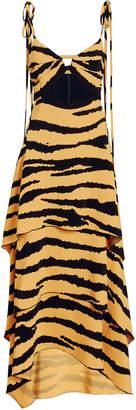 Proenza Schouler Tiered Tiger Print Cutout Dress