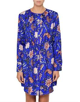 Diane von Furstenberg L/S Cinched Waist Shirt Dress
