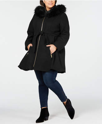 Laundry by Shelli Segal Plus Size Faux Fur Hooded Belted Wool Coat