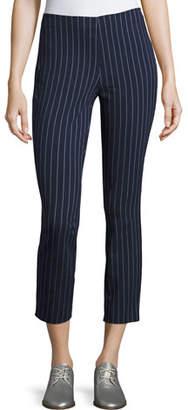 Rag & Bone Simone Pinstripe High-Waist Cropped Leggings, Navy/White
