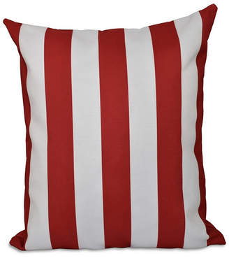 E By Design 16 Inch Red Decorative Striped Throw Pillow