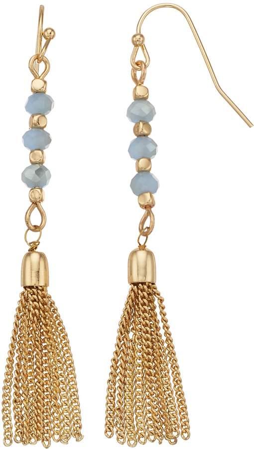 Lc Lauren Conrad LC Lauren Conrad Gold Tone Nickel Free Bead and Tassel Drop Earrings
