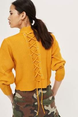 Topshop Lattice Back Funnel Neck Sweater