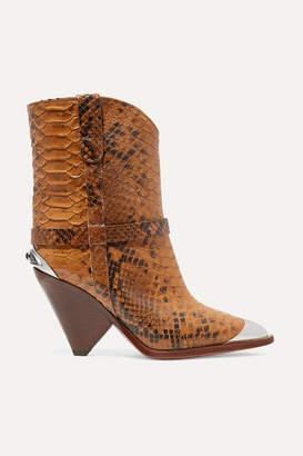 Isabel Marant Lamsy Embellished Snake-effect Leather Ankle Boots - Snake print