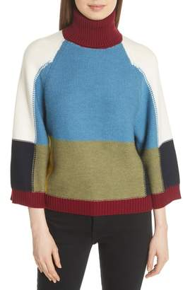 See by Chloe Colorblock Crop Sleeve Wool Sweater