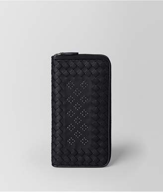 Bottega Veneta Nero Nappa Microstuds Zip Around Wallet