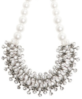 Ivory Pearl Rhinestone Bib Statement Necklace