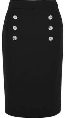 Michael Kors Button-Detailed Wool-Twill Pencil Skirt
