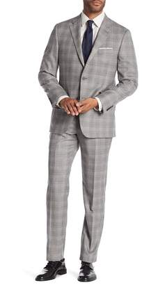 Hickey Freeman Grey Plaid Two Button Notch Lapel Classic Fit Suit