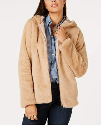 Style&Co. Style & Co Zip-Front Hooded Faux-Fur Jacket