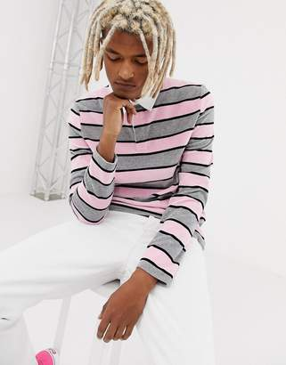 Asos DESIGN stripe long sleeve velour polo in pink and gray