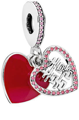 Pandora Silver Cz Red Double Happiness Heart Charm