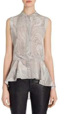 Alexander McQueen Silk Peplum Shirt