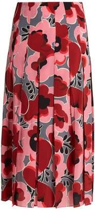 Gucci Poppy-print pleated silk crepe de Chine skirt