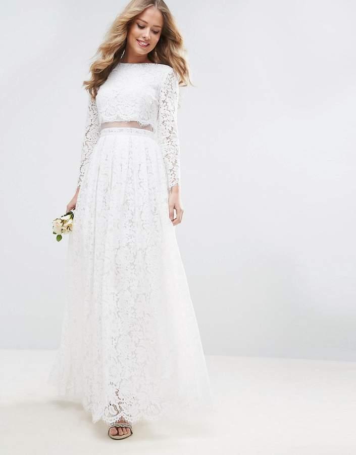 AsosASOS BRIDAL Lace Long Sleeve Crop Top Maxi Dress