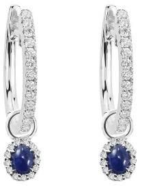 18k White Gold Tanzanite and White Diamond Charms with Diamond Hoops