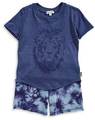 Splendid Two-Piece Lion Tee and Tie-Dye Shorts Set