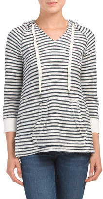 Textured Striped Hi-lo Hoodie