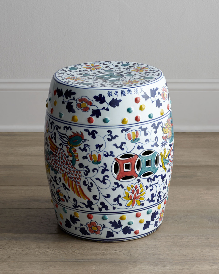 "Horchow ""Dragon"" Garden Stool"