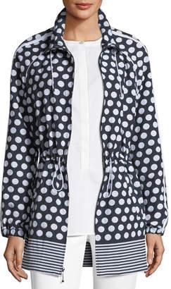 St. John Dot-Print Draw-Cord Anorak Jacket