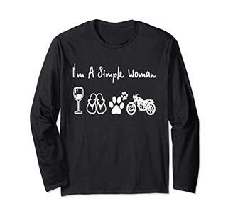 I'm a simple woman I love wine flip flop dog paw and motorcy