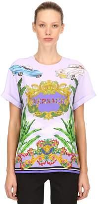 Versace Baroque Miami Print Silk Twill Top