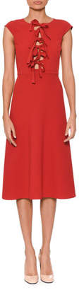 Bottega Veneta Bow-Front Sleeveless Tea-Length Fit-and-Flare Dress