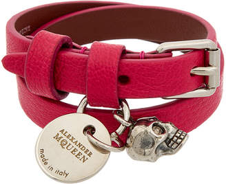 Alexander McQueen Skull Charm Leather Double Wrap Bracelet