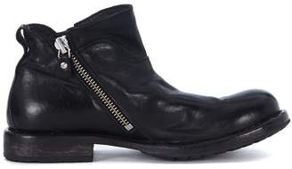 Moma Black Leather Ankle Boots With Double Slider Zip